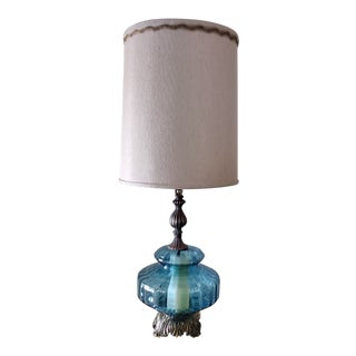1970s Vintage Blue Falkenstein 3-Way Table Lamp For Sale