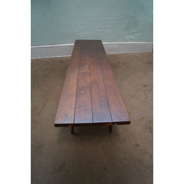 Studio Made Solid Walnut Long Low Table/Bench - Image 7 of 10