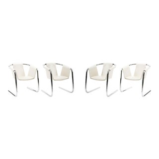 Zermatt Chrome & White Leather Sling Dining Chairs - Set of 4 For Sale