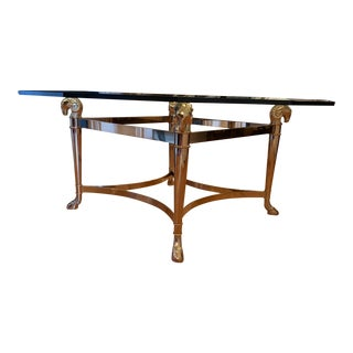 20th Century Hollywood Regency Maison Jansen Brass & Glass Rams Head Coffee or Cocktail Table For Sale