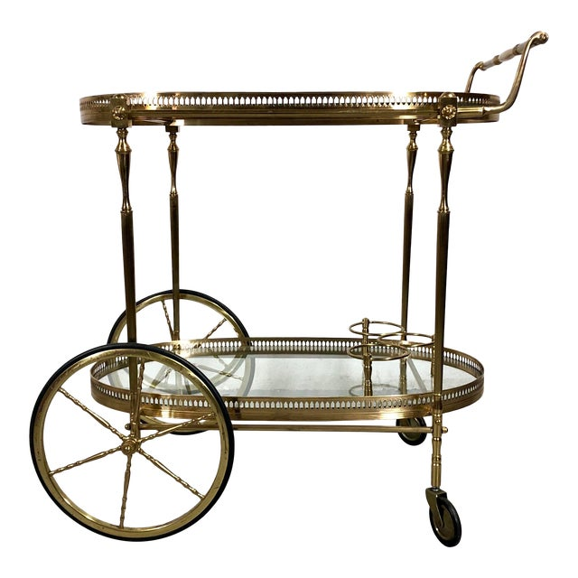 Vintage Maison Jansen Style Brass Bar Cart / Trolley For Sale