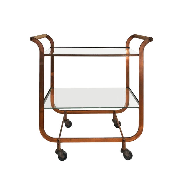 Gold 1940s Art Deco Carl Aubock Copper and Rattan Bar Cart For Sale - Image 8 of 8