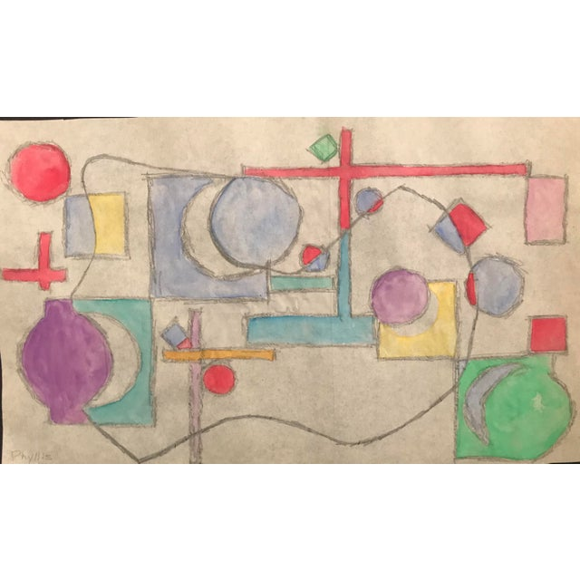 Abstract Mid-Century Modern Abstract Geometric Watercolor Painting C. 1955 For Sale - Image 3 of 3