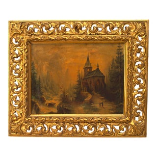 French Victorian Landscape of Church in a Forest For Sale