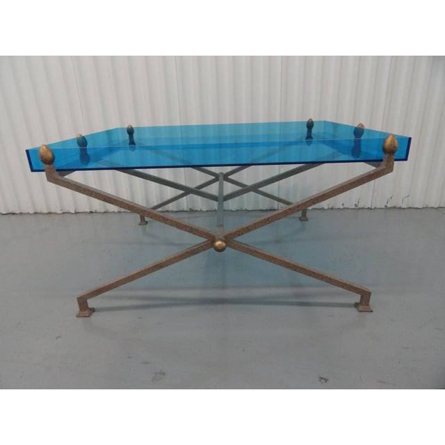 Steel base coffee table with custom blue perspex / acrylic top. Tray top holds a piece of glass for strength and to keep...