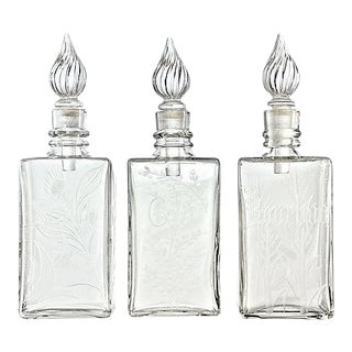 1940s Cut-Glass Decanters - Set of 3