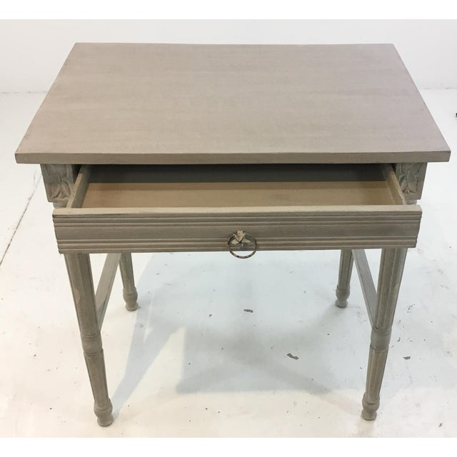 French Currey & Co. French Country Style Lysanne Gray Wood End Table For Sale - Image 3 of 7