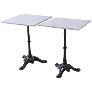 Pair of Granite and Iron French Bistro Cafe Tables For Sale