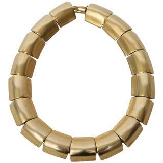 Sculptural Gold Plated Robert Lee Morris Collar /Choker Link Necklace For Sale