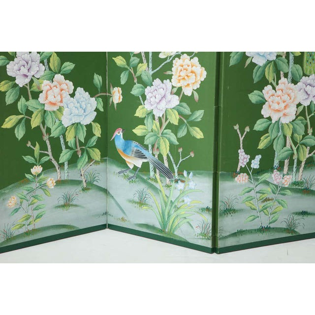 Green Green Chinoiserie Six-Panel Hand-Decorated Screen For Sale - Image 8 of 11