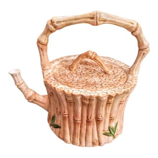 Italian Faux Bamboo Palm Beach Regency Tea Pot For Sale
