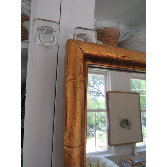 Glass Vintage Palm Beach Style Gilt Faux Bamboo Rectangular Mirror For Sale - Image 7 of 13