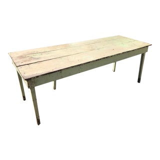 Antique Shabby Chic Green Distressed Farm Table For Sale