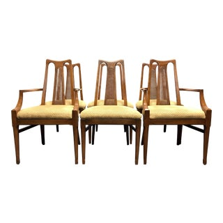 White Furniture Co Mid Century Modern Walnut & Cane Dining Chairs - Set of 6 For Sale