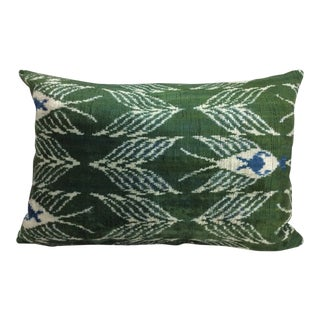 Silk Velvet Ikat Accent Pillow For Sale