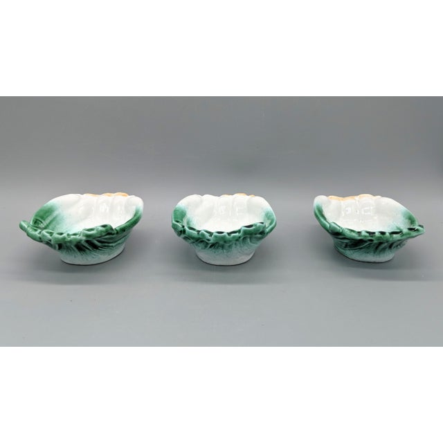 Ceramic Vintage Italian Majolica Green Onion Vegetable Dipping Bowls - Set of 3 For Sale - Image 7 of 10