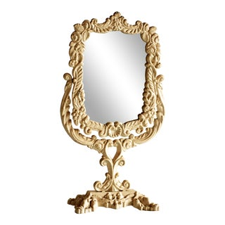 Vintage Cast Iron Victorian Vanity / Dresser Make Up Mirror For Sale