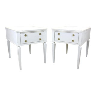 Pair of Mid Century Nightstands, Henredon Nightstands - White Nightstands