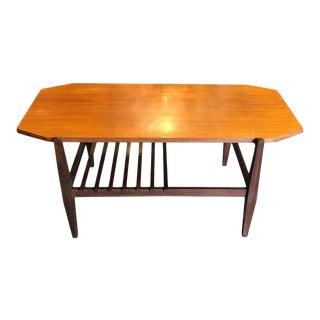 1960s Italian Mid-Century Modern Wood Octagonal Coffee Table For Sale