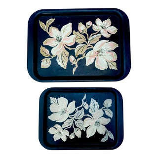 1950s Vintage Metal Trays - a Pair For Sale