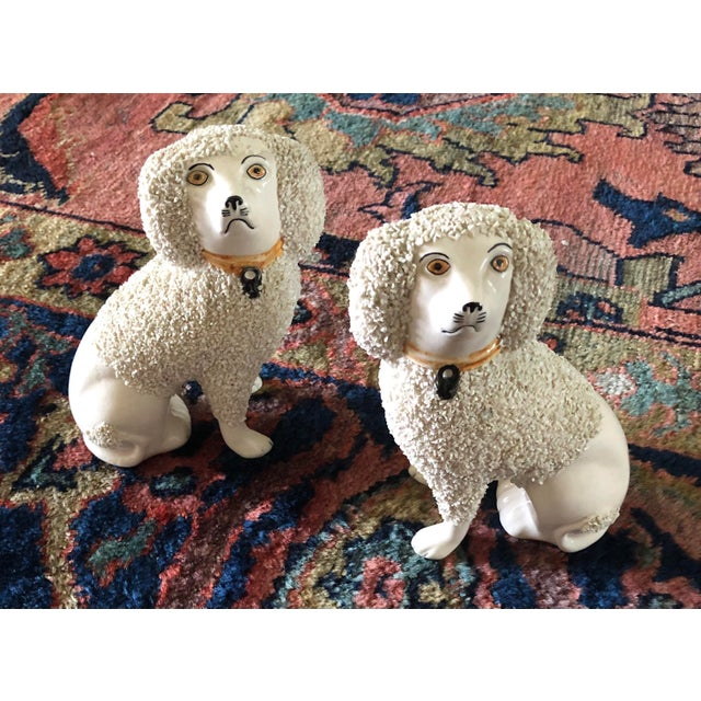 Ceramic Antique Staffordshire Poodle Dog Figurines- a Pair For Sale - Image 7 of 13