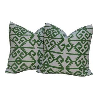 """Manuel Canovas """"Kerala"""" Plllows in Prairie Green/Ivory 22 X 22 In. - a Pair For Sale"""