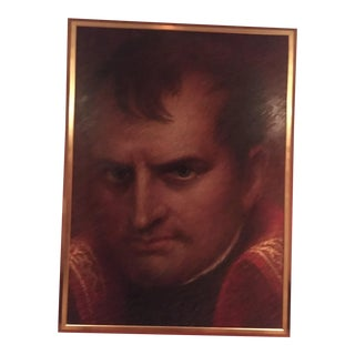 Portrait of Napoleon Oil Painting on Canvas in Gilt Wood Frame by Dan Piel For Sale