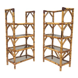 Pair Vintage Bamboo Bookcases