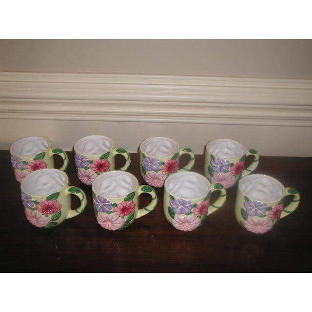 Set of eight large glazed earthenware mugs for any type of beverage or wonderful for serving ice cream sundaes or the...