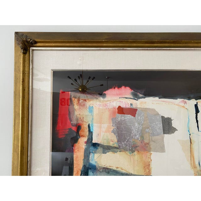 Harold Larsen Vintage Harold Larson Painting Abstract Mixed Media Collage For Sale - Image 4 of 13