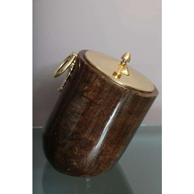 Aldo Tura Goatskin and Brass Tilted Ice Bucket For Sale In Miami - Image 6 of 9