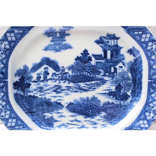 Large 19th Century English Blue and White transfer ware patter with a Chinese motif design.