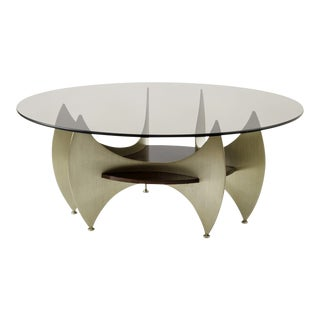 Brazilian Abstract Rare Brushed Iron Steel & Mahogany Round Coffee Table For Sale