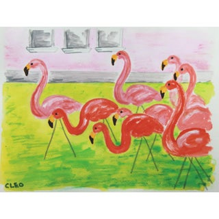 Pink Flamingo Landscape Painting by Cleo For Sale