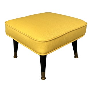 Mid-Century Small Yellow With Black Plastic Legs Foot Stool For Sale