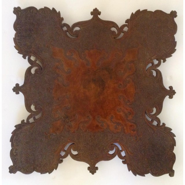 Anglo-Indian Anglo-Indian Square Shaped Carved Walnut Table For Sale - Image 3 of 4