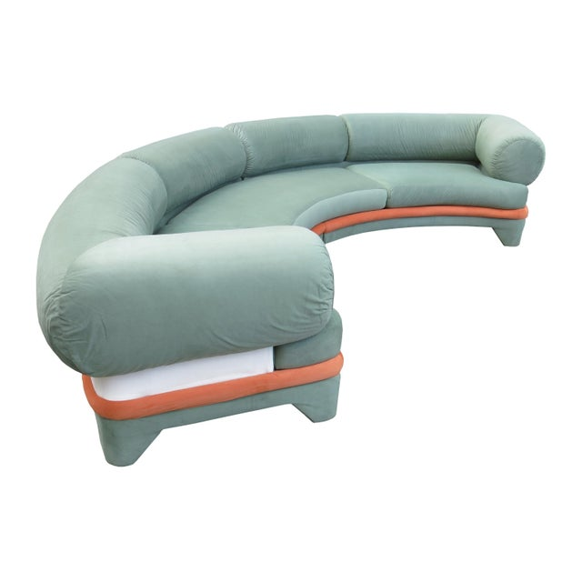 1970s Contemporary Circular Curved Ultrasuede Sectional Sofa For Sale In Chicago - Image 6 of 12