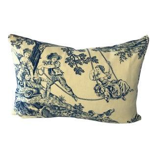 "French Toile De Jouy Fabric Pillow ""L'Escarpolette"" the Swing For Sale"