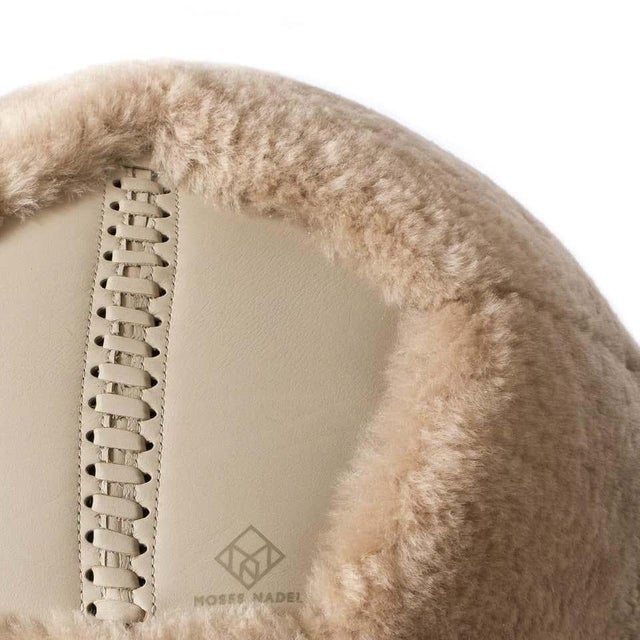 Modern Ottoman in Camel Shearling by Moses Nadel For Sale - Image 3 of 7