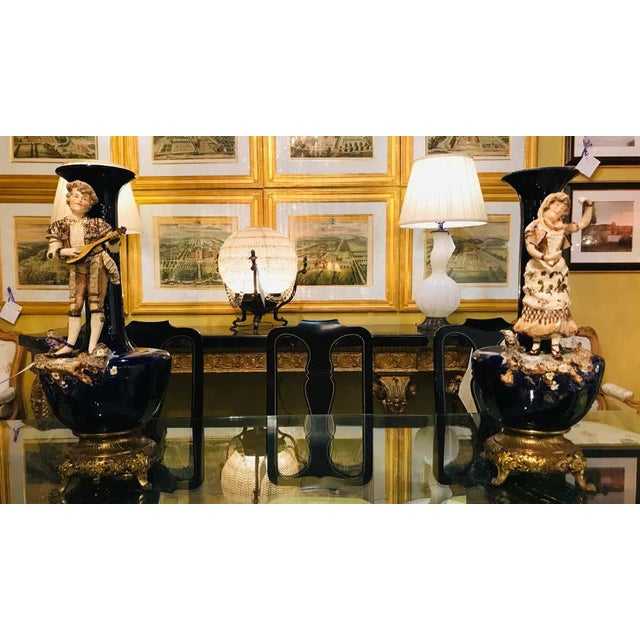 Two Large Porcelain French 19th-20th Century Figurative Vases or Male & Female For Sale - Image 11 of 13