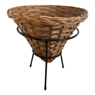 Mid-Century Style Cone Basket on Black Metal Legs For Sale
