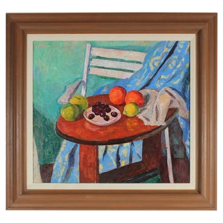 Gerald Wasserman Still Life with Fruit, Oil on Canvas Painting, Mid 20th Century For Sale