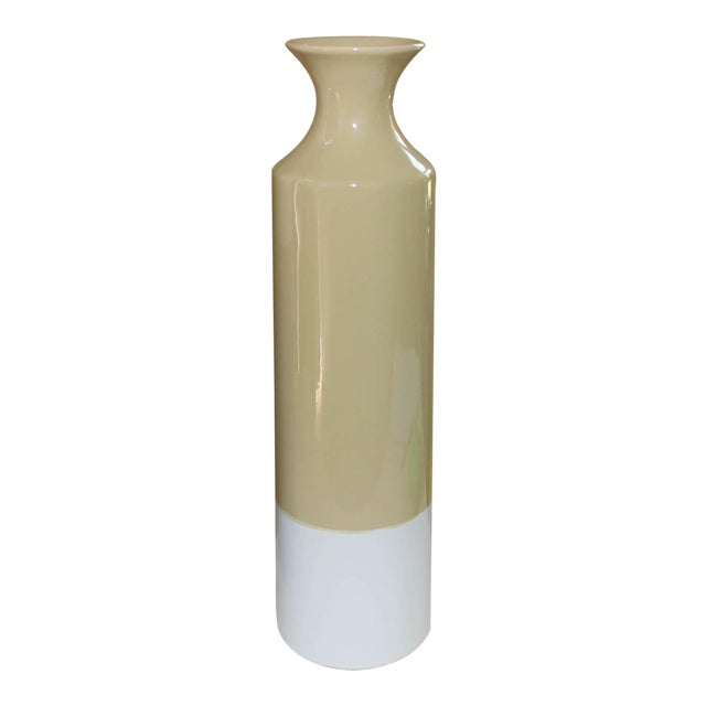 Contemporary Yellow & White Vase For Sale
