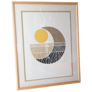 "Signed Robert Waterman ""Moon Fields"" 4/100 Abstract Collage Litho For Sale"