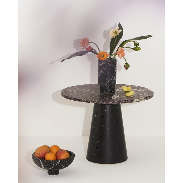 Modern Fruit Bowl in Black Marble by Karen Chekerdjian, Made in Italy For Sale - Image 3 of 10