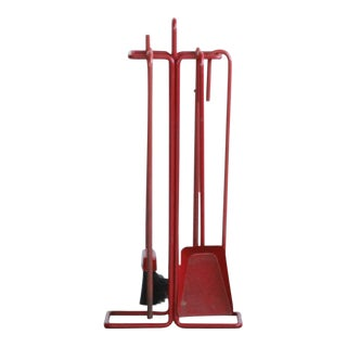 Vintage Red Fire Place Tools For Sale