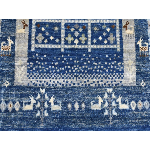 Islamic Denim Blue Kashkuli Gabbeh Pictorial Wool Hand Knotted Runner For Sale - Image 3 of 7