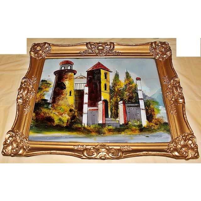 Baroque Reverse-Painted Glass Art For Sale - Image 3 of 6