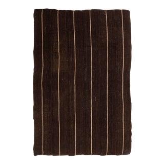 Vintage Mid-Century Brown Striped Kilim Wool Rug - 6′9″ × 10′ For Sale