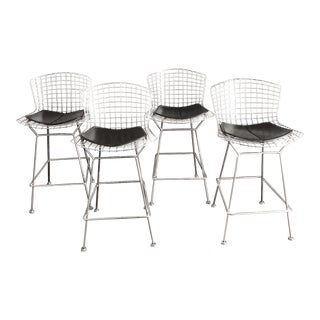 Knoll Bertoia Chrome With Black Faux Leather Cushion Stools - Set of 4 For Sale